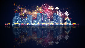 Out of focus city lights and fireworks. Computer generated christmas background royalty free illustration