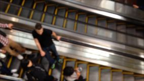 Out of focus escalator stock footage