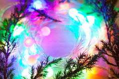 Out of focus lights garlands. Stock Photo