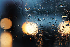 Out of Focus Lights during the raining nights Stock Photography