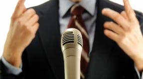 Politician speech microphone Royalty Free Stock Photos