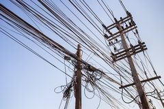 Out of focus, Messy electrical cables in India royalty free stock photos