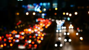 Out of focus night traffic, Bangkok, Thailand stock video