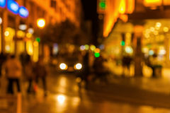 Out of focus picture of a city scene at night Stock Image