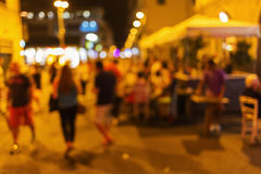 Out of focus picture of a night scene in the old town of Florence, Italy Stock Image