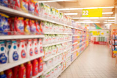 Out of focus supermarket aisle empty with burry background Royalty Free Stock Images