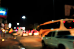 Out of focus traffic and lights in twilight time. Out of focus traffic and lights at twilight time in Thailand Stock Photography