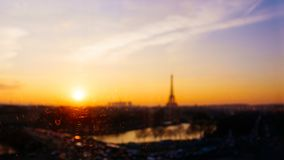 Out of focus view of Paris and the Eiffel Tower, France Stock Photo