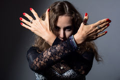 Out of focus woman with her hands signaling to stop Royalty Free Stock Photos