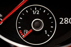 Out of fuel. Fuel gauge indicating empty stock photography