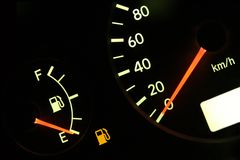 Out of gas. Fuel guage in red, empty tank Royalty Free Stock Image