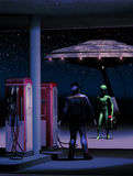 Out of gas. Night scene, where a green alien who has landed his UFO, approaches a gas station with a jerrican Stock Photos