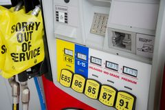 OUT OF GAS. Gas station that you pull into may be `all out` of fuel. Gas shortage can be a real thing running on empty, with pumps shut down due to a lack of royalty free stock photo