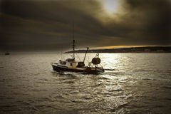 Out of Gloucester. Fishing boat for lobster going out of Gloucester Massachusetts Stock Photography
