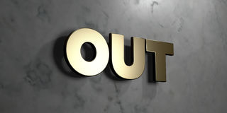 Out - Gold sign mounted on glossy marble wall  - 3D rendered royalty free stock illustration. This image can be used for an online website banner ad or a print Royalty Free Stock Image