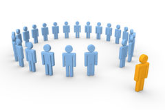 Out of the group. 3d human standing out of the circle of people. 3d rendering Stock Photography