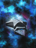 Out of Hyperspace. A freighter exits hyperspace, ready to deliver its cargo Royalty Free Stock Image