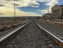 Rural Railroad Tracks & Horse Ranch stock images