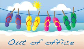 Out of office summer vacation beach header Stock Photography