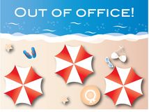Out of office summer vacation beach header Royalty Free Stock Photo