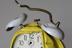 Out of order. Damaged alarm clock at half past six - have a nice day Stock Photo