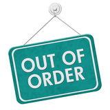 Out of Order Sign. A teal and white sign with the words Out of Order isolated on a white background Royalty Free Stock Photography