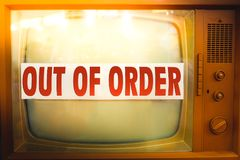 Out of order television maintenance old tv label vintage obsolet Royalty Free Stock Image