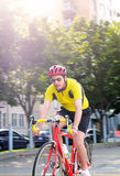 Out for a ride. Image of a cyclist on the move Stock Images