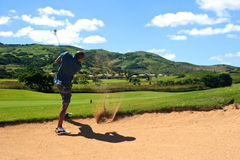 Out of the sand trap. Golfer successfully hitting golf ball out of a sand trap Royalty Free Stock Image
