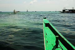 Out in the sea in Boracay. Enjoying the island hoping at the Boracay island last summer Stock Image