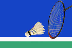 In or out of the shuttlecock in the game. Of badminton Stock Photo