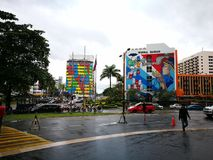 Out side the mall. Rainy day outside mall in Sabah Stock Photo