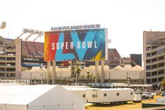 Free Out Side The Stadium Of Super Bowl LV At The Raymond James Stadium In Tampa, Florida January 21, 2021 Stock Photos - 208174403