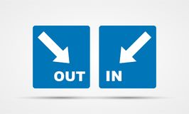 In and out sign. Simple in and out sign for your business Stock Photos