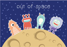 Out of Space - monster cartoon Stock Images