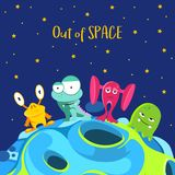 Out of space. Spaceship background with monsters in cartoon style vector illustration