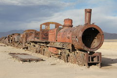 Out of steam. Abandoned locomotive in the train graveyard at Uyuni, Bolivia Stock Image