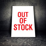 Out of Stock sign leaning on the wall Royalty Free Stock Images