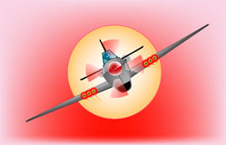 Out of the Sun. A fighter plane diving 'out of the sun Royalty Free Stock Photo