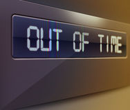 Out of time. Illustration of digital display showing 'out of time' text Royalty Free Stock Image