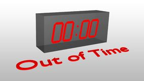Out of Time concept. 3D illustration of Out of Time title with a clock as a background displaying the time 00:00 Stock Photo