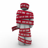 Out of Time Man Wraped Tape Past Deadline Hostage Prisoner Stock Images
