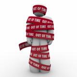 Out of Time Man Wraped Tape Past Deadline Hostage Prisoner vector illustration