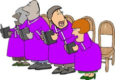 Out of tune choir. This illustration that I created depicts people singing in a choir wearing purple robes Stock Photos