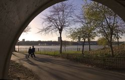 Out of tunnel. People walking out of tunnel in Riverside park, NYC stock photos