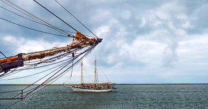 In and Out. Two Sailing Vessels Approaching Each Other Royalty Free Stock Photography