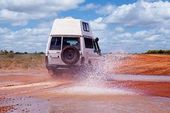 Outback. 4WD Crossing a Floodway in outback Stock Images