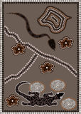 Outback. A illustration based on aboriginal style of dot painting depicting snake meets waran Stock Images
