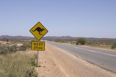 Outback. Kangaroo warning sign in the Australian Outback stock photos