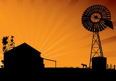 Outback Australia silhouette Royalty Free Stock Images